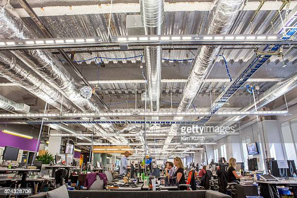 Scenes of daily work and life at Facebook Inc USA Headquarters in Menlo Park California A view of the unfinished looking workspaces at Facebook