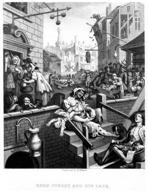 Scenes of debauchery and drunkenness in 'Gin Lane',...