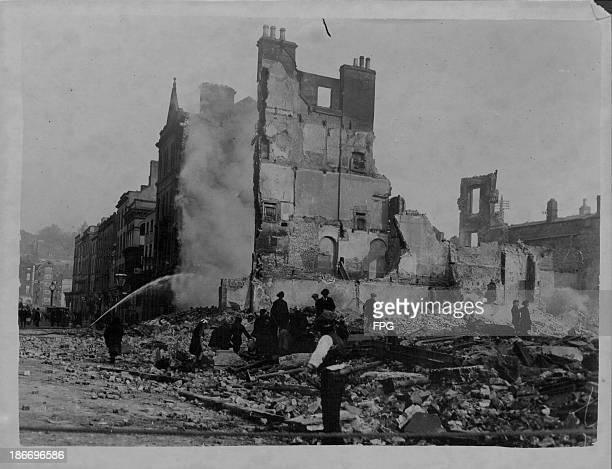 Scenes of devastation during the Irish riots following the Easter Rising Rebellions Cork Ireland 19161920
