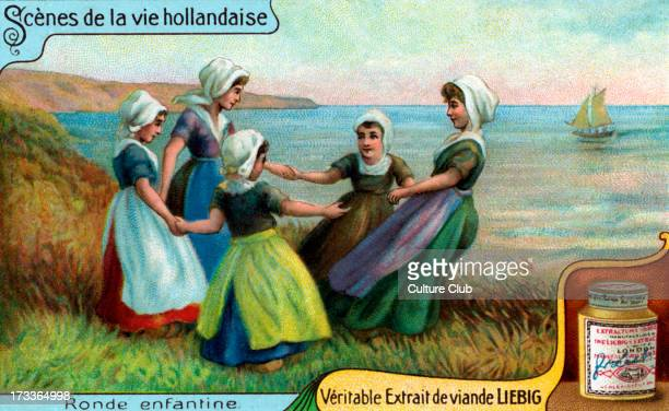 Girls dancing in a circle Liebig collectible card illustration 1913