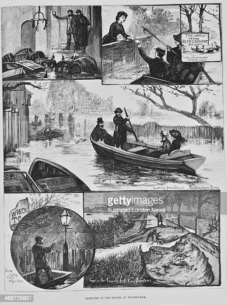 Scenes of flooding in Twickenham London after the Thames burst its banks November 1882 Boats are shown being used by churchgoers to return home and...