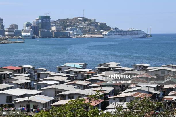 Scenes of people and homes in the stilt house village of Hanuabada on November 17, 2018 in Port Moresby, Papua New Guinea. Hundreds of locals live in...