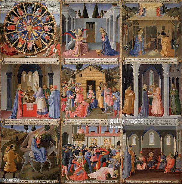Scenes of the Life of Christ: Mystic Wheel, Annunciation, Adoration, Circumcision, Adoration of the Magi, Presentation at the Temple, Flight into...