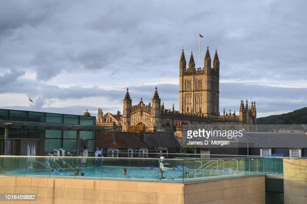 Scenes of Thermal Bath on the top of the Bath Abbey Tower in Bath United Kingdom on June 16th 2018