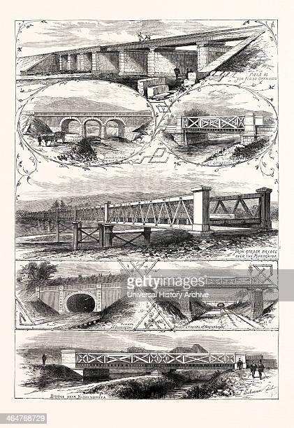 Scenes On The New Railway In Japan Between Osaka And Kobe, 1876. Shindingawa Bridge, At Shikugawa, Iron Girder Bridge Over The Mukogawa, Bridge Near...