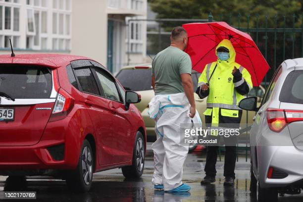Scenes outside a new Covid-19 testing station at Papatoetoe High School for students, staff and their families on February 15, 2021 in Auckland, New...