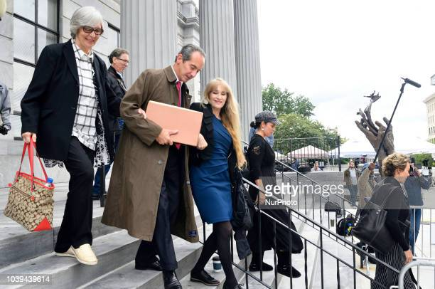Scenes outside Montgomery County Courthouse in Norristown PA on September 24 2018 Bill Cosby appears before Judge Steven O'Neil after a jury found...
