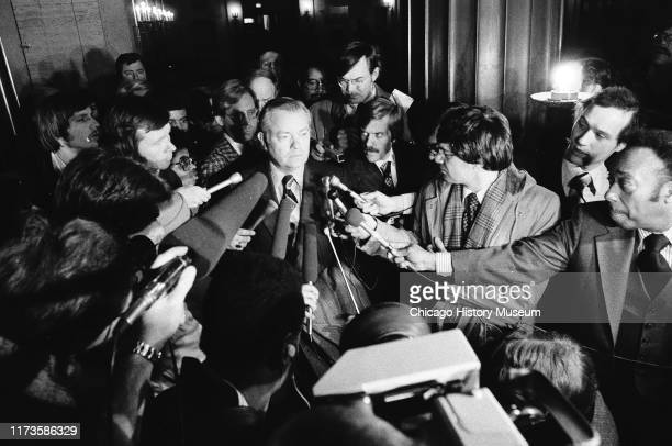 Scenes outside the courtroom where John Gacy's arraignment is held at the Criminal Court Building, 2650 South California Avenue, Chicago, Illinois,...