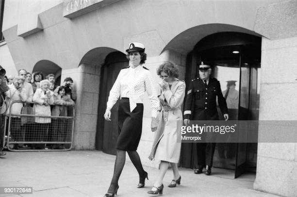 Scenes outside the Old Bailey during the Peter Sutcliffe, Yorkshire Ripper, trial. Pictured, Sonia Sutcliffe leaving the Old Bailey. London, England,...