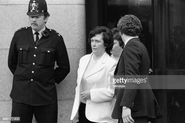 Scenes outside the Old Bailey during the trial of Peter Sutcliffe, the Yorkshire Ripper. Pictured, survivor Olive Smelt, 7th May 1981.