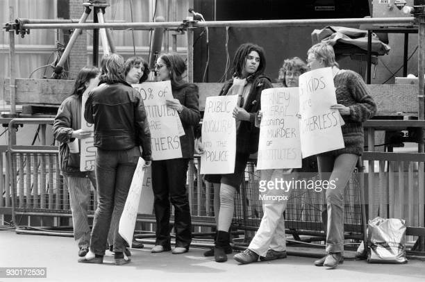 Scenes outside the Old Bailey during the trial of Peter Sutcliffe, the Yorkshire Ripper. Women demonstrate for Prostitutes, outside the Old Bailey,...