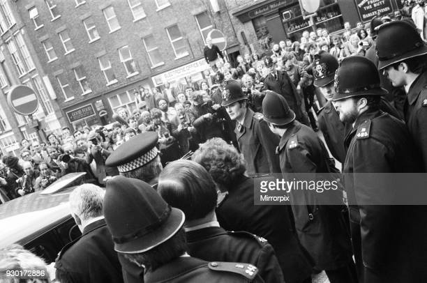 Scenes outside the Old Bailey during the trial of Peter Sutcliffe, the Yorkshire Ripper, 29th April 1981.