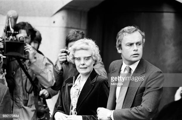 Scenes outside the Old Bailey during the trial of Peter Sutcliffe, the Yorkshire Ripper. Beryl Leach, mother of victim Barbara Leach, 22nd May 1981.