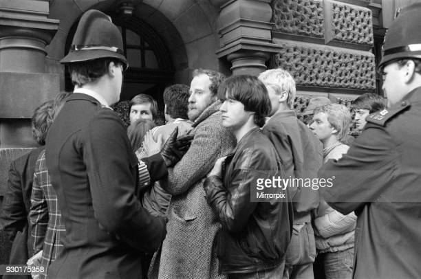 Scenes outside the Old Bailey during the trial of Peter Sutcliffe, the Yorkshire Ripper. London, 5th May 1981.