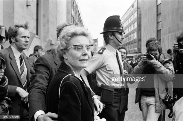 Scenes outside the Old Bailey during the trial of Peter Sutcliffe, the Yorkshire Ripper. Mrs Beryl Leach, mother of victim Barbara Leach leaving the...