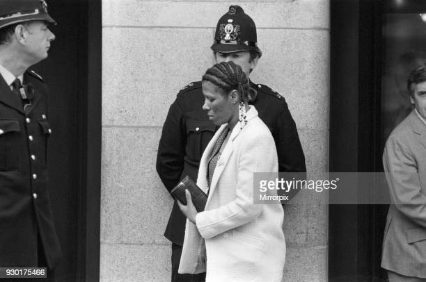 Scenes outside the Old Bailey during the trial of Peter Sutcliffe, the Yorkshire Ripper. Pictured, one of the Yorkshire Rippers potential victims,...