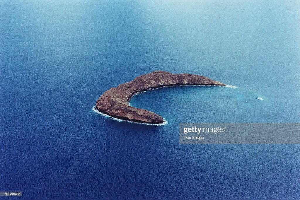 Scenic aerial of Molokini island; Maui, Hawaii : Stock Photo