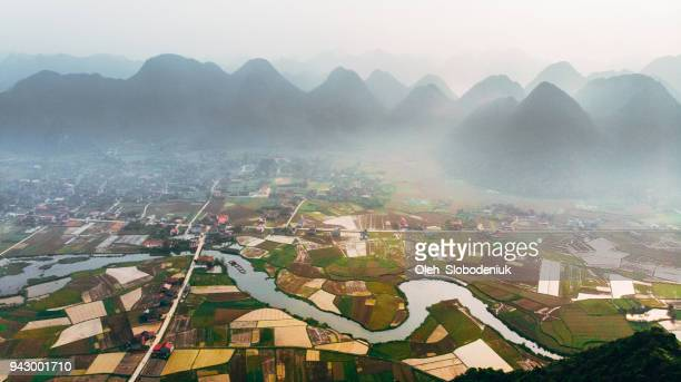 scenic aerial view of bac son valley - country geographic area stock pictures, royalty-free photos & images