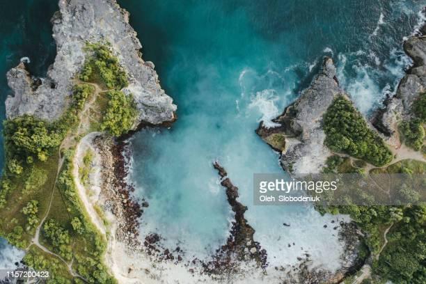 Scenic aerial view of Blue Lagoon  on Nusa Ceningan