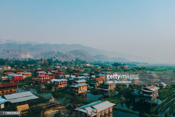 scenic aerial view of inle lake village - fishing village stock pictures, royalty-free photos & images