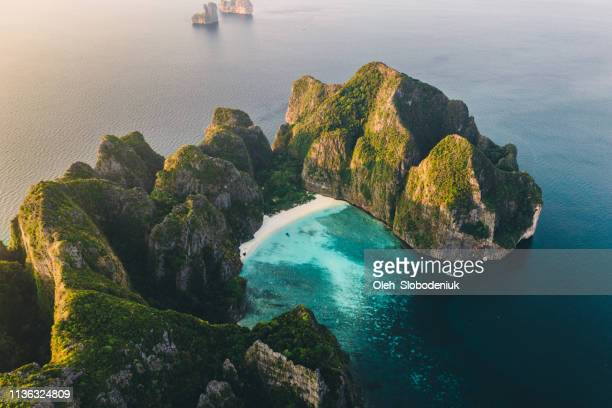 scenic aerial view of koh phi phi island in thailand - thailand stock pictures, royalty-free photos & images