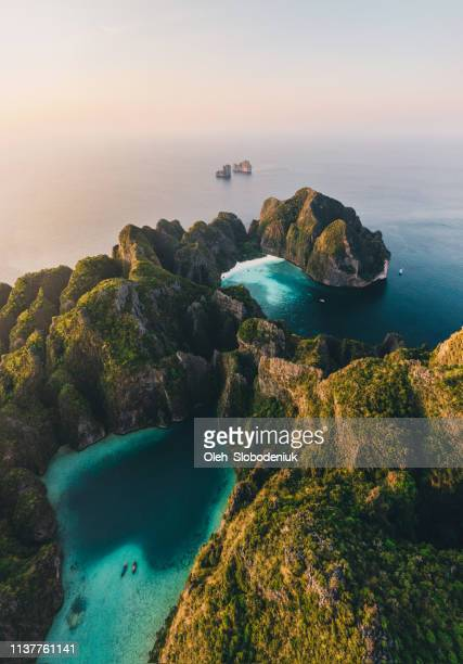 scenic aerial view of koh phi phi island in thailand - indian ocean stock pictures, royalty-free photos & images