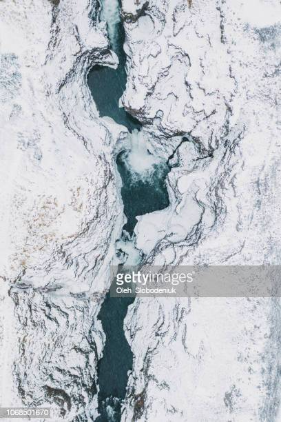 scenic aerial view of koluglufur waterfall in winter - iceland stock pictures, royalty-free photos & images