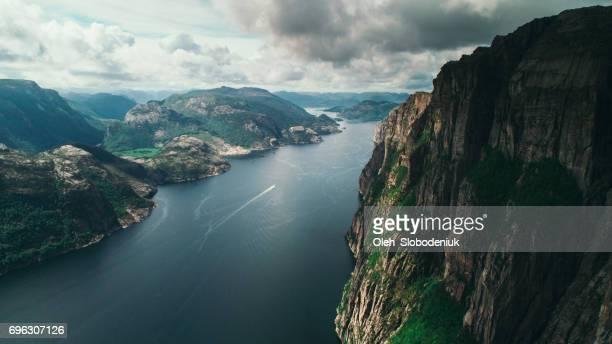 Scenic aerial view of Lysefjorden