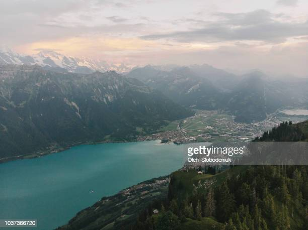scenic aerial view of mountains near  the lake - bern canton stock pictures, royalty-free photos & images