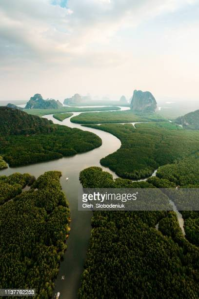 scenic aerial view of phang nga at sunrise - indochina stock pictures, royalty-free photos & images