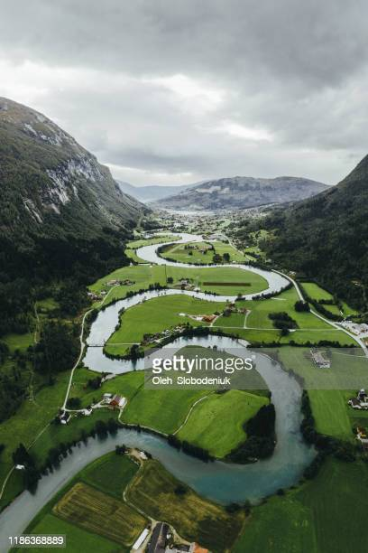 scenic aerial view of river valley in norway - river stock pictures, royalty-free photos & images