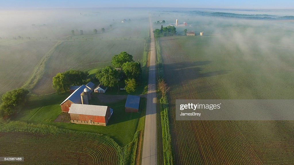 Scenic aerial view of rural Wisconsin on foggy spring morning. : Stock Photo