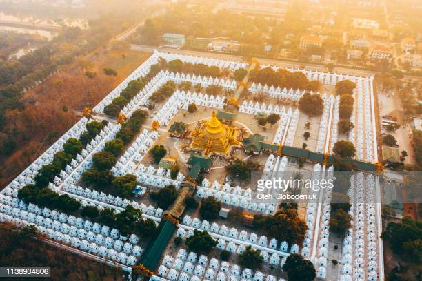 scenic aerial view of sandamuni pagoda at sunrise - indochina stock pictures, royalty-free photos & images
