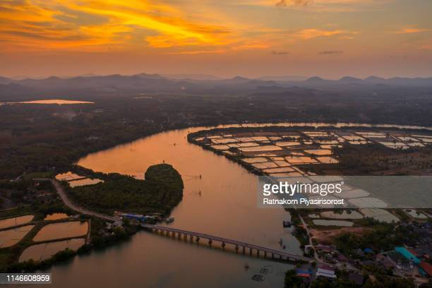 scenic aerial view of village near river, songkhla, thailand - prachuap khiri khan province stock pictures, royalty-free photos & images