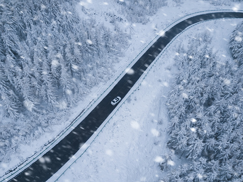 Scenic aerial view road in winter - gettyimageskorea
