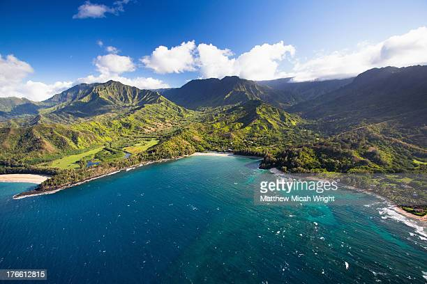 scenic aerial views of kauai from above - kauai stock pictures, royalty-free photos & images