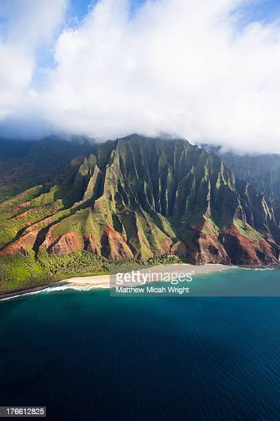 Scenic aerial views of Kauai from above.