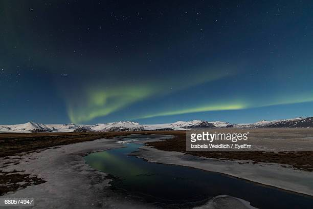 scenic aurora borealis over vatnajokull glacier - breidamerkurjokull glacier stock photos and pictures