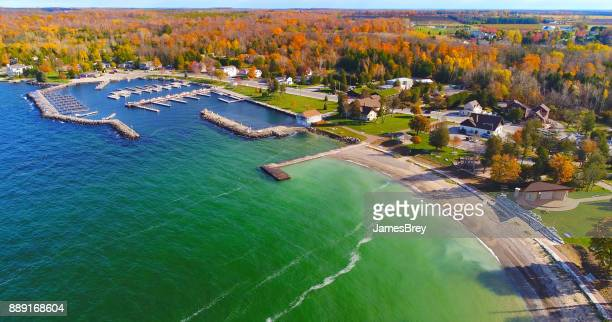 scenic autumn harbor at sister bay wisconsin - wisconsin stock pictures, royalty-free photos & images