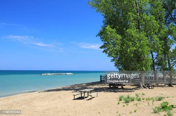 scenic beach, presque isle state park, erie, pennsylvania, usa - erie pennsylvania stock pictures, royalty-free photos & images