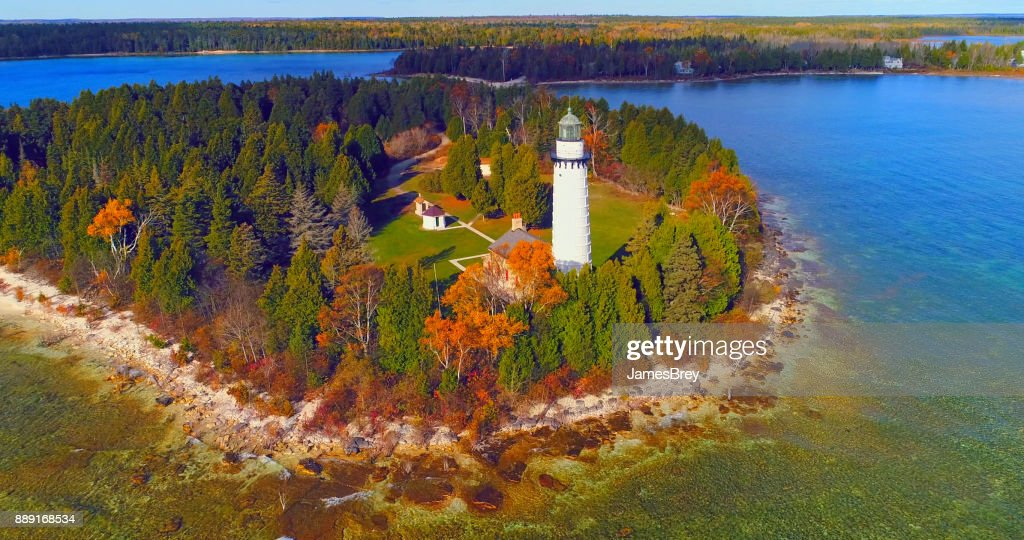 Scenic Cana Island Lighthouse, Door County, Wisconsin, aerial flyby : Stock Photo