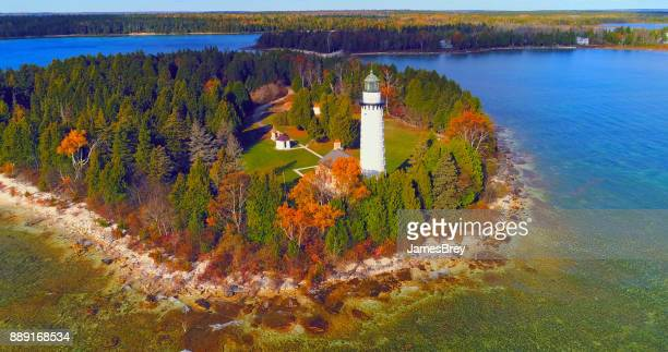 scenic cana island lighthouse, door county, wisconsin, aerial flyby - wisconsin stock pictures, royalty-free photos & images