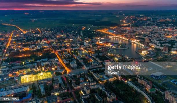 Cityscape cênica à noite. Vista aérea de Yoshkar-Ola, Rússia