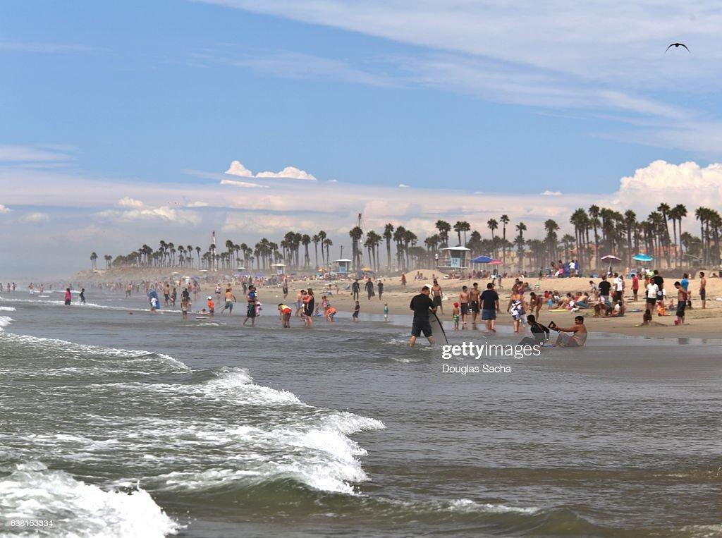 Scenic Coastal Beach Huntington Los Angeles California Usa Stock Photo