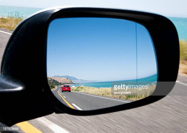 scenic coastal drive - side view mirror stock photos and pictures