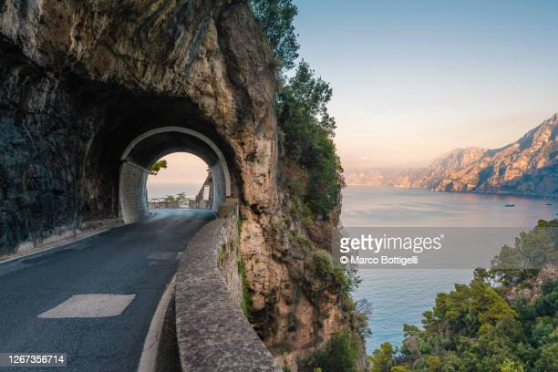 scenic coastal road along amalfi coast, italy - italia stock pictures, royalty-free photos & images