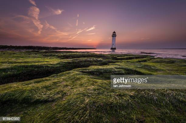 Scenic coastal view with small lighthouse, Merseyside, New Brighton, UK
