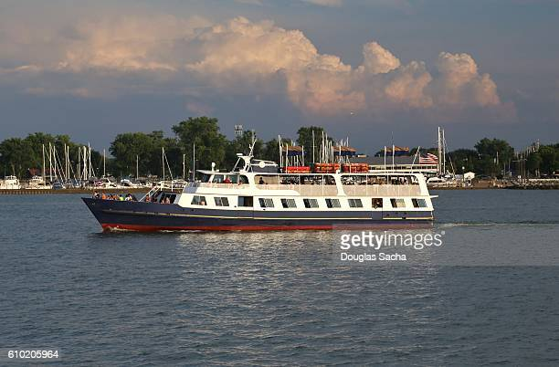 Scenic cruise ship ferries tourist to the islands