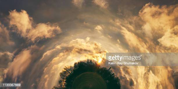 scenic golden sunset drama of toronto planet - fish eye foto e immagini stock