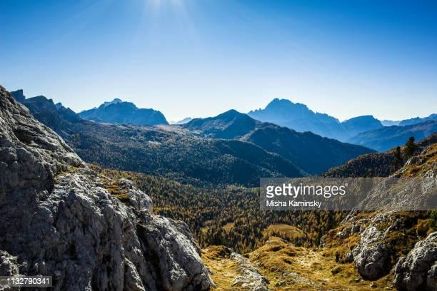 Scenic hiking trail in Dolomite Alps, Italy